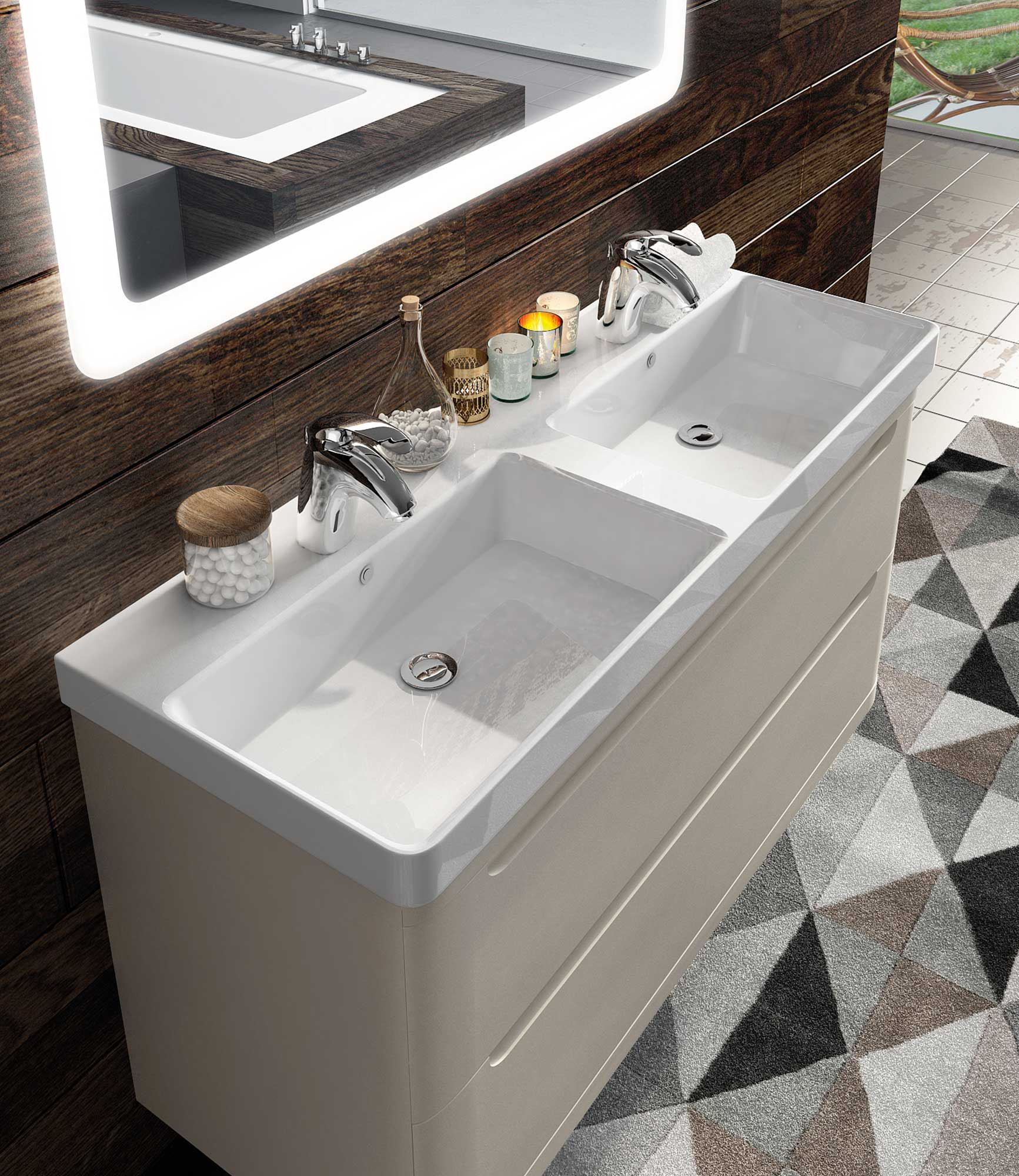 Mueble ba o loop lavabo doble seno avila dos for Lavabo doble